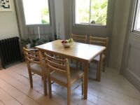 Solid Wood Dining Table & Chairs - Light Wood - £50