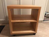 SMALL IKEA SHELVING/TV UNIT ON CASTORS, BEECH VENEER