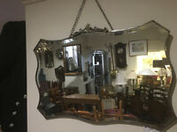 Superb Large Vintage 1930s Art Deco Frameless Bevelled Edge Wall Mirror