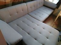 VERY LARGE Grey Fabric & Black Leather L Shaped Corner Sofa Bed with Storage