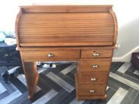 Roll Top Pine Desk - fully restored to good working condition