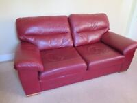 Quality Red Leather three seat sofa, excellent condition - M&S - L 2.00m - H 0.95m - Max D 1.10m