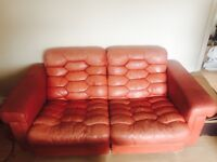 Vintage three piece Swedish duckdown leather suite