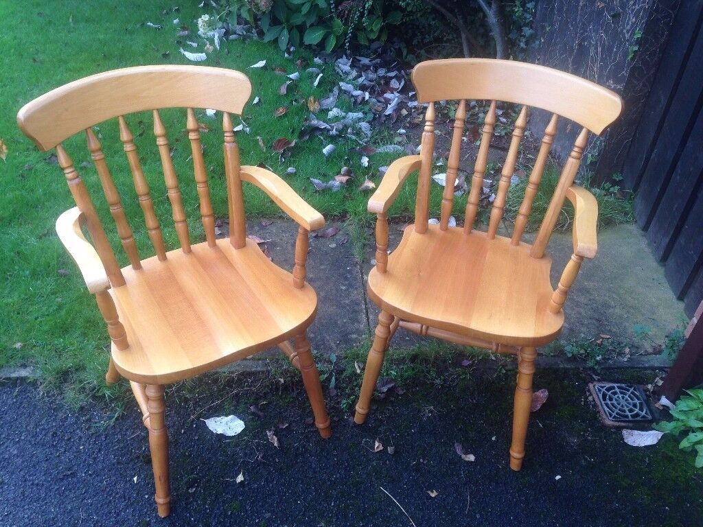 2 solid dining chairs / captain style chairs / pub chairs / cafe chairs
