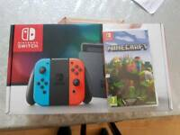 Nintendo switch neon blue/red with minecraft