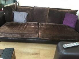 3 seater sofa 4 seater sofa leather arm sides good condition arm chair to match