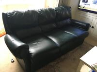 FREE TO ANYONE - Dark Green Leather Sofa and Two Matching Swivel Recliners
