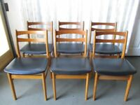 VINTAGE MID CENTURY DANISH FINDAHL MOBLER SET OF SIX TEAK & BLACK VINYL DINING CHAIRS FREE DELIVERY