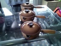 le crosett cast iron 3 pan set volcano red unused cost 300