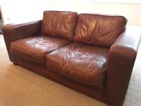 Brown Leather Sofa - Delcor Furniture Ltd
