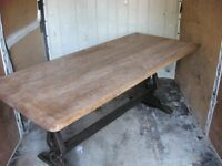 "solid oak refectory table 72""x33"" £50"