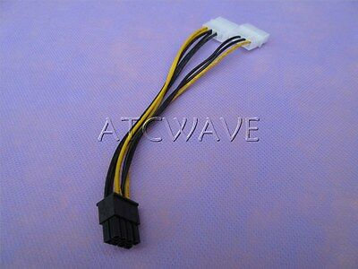 Dual Molex 4 pin to 8 pin PCI-E Express converter adapter power cable Video Card