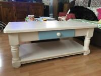 arge Solid Chunky Hand Painted Large Pine Rustic Farmhouse Coffee Table with Drawer