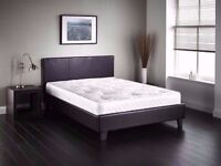 Black / Brown Faux Leather Brand New Double Leather Bed & Mattress