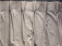 Pair Cream Quality Lined Curtains - Double Pleat - 236 cm L x 92 cm W