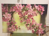 Medium Blossom Canvas, pink & green
