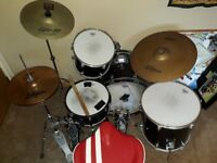 Drumkit. Pearl (Joey Jordison signature series) steel snare with Zildjian hi-hat and ride cymbal.