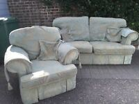 FREE Three piece suite. Green Brocade. Comprises of large sofa and two armchairs, with arm covers