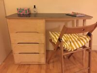 Scandi style Handmade Wooden Table Desk with 4 drawers