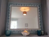 Large ornate mirror - duck egg and teal