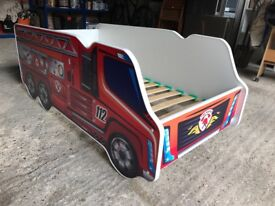 Fire Engine Bed with Foam Mattress