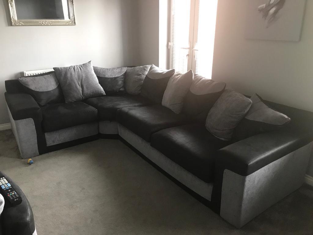 Black And Grey Corner Sofa Cuddle Chair Puffy