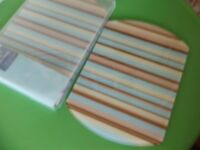 brand new glass place mats (modern contemporary style striped)
