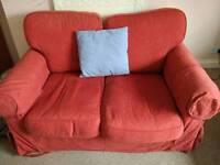 Red sofa and green bean bag