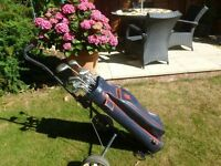 "Set of ""GOLDSMITH"" stainless steel GOLF CLUBS plus DRIVERS etc & TROLLEY & BAG."