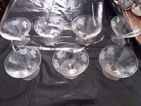 Set of 7 dessert glasses - frosted flower pattern