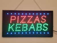 LED Flashing PIZZA KEBABS sign for shop business door hanging window takeaway