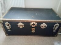 Large Blue Leather Trunk