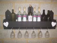 Large Wooden Rustic Chalk Board Fronted Wine & Glass Holder / Rack
