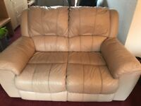 2 x 2 seater cream leather sofa and reclining chair