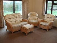 Cane suite for conservatory. Settee, two chairs and stool