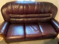 Maroon leather 3 seater sofa with x2 matching armchairs