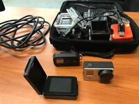 GoPro Hero 3 Remote Control Camera with Big Kit of Extras, LCD Screen, Hardly Used Waterproof Action