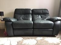Green/Dark Navy Double leather Recliner Sofa