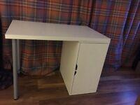 White IKEA Desk with Shelving
