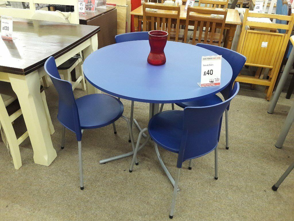 Round blue kitchen table and 4 chairs