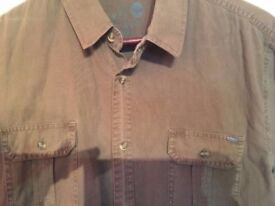 New *Solid* Khaki Men's Casual Cotton Shirt, L, RRP £79
