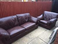 John Lewis leather sofa and chair
