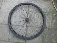 Vintage bike wheel, rod brake rear wheel, 28 inch (40 635) from Royal Enfield bike