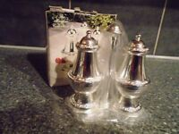IANTHE MAYFAIR COLLECTION SILVER PLATED CRUET SET ON STAND-STILL BOXED-UNUSED