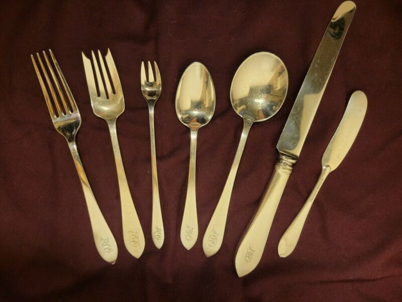 7 Piece Tiffany Faneuil Sterling Flatware Place Setting