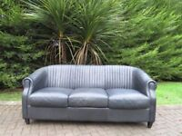 Hand Stitched Bottle Green Leather Sofa (100% Leather)