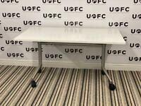 White Flip Top Table on Wheels