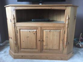 Large very solid pine corner TV unit