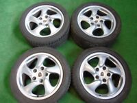 "PORSCHE 911 993 996 CARRERA BOXTER TWIST 17"" ALLOY WHEELS WITH TYRES"