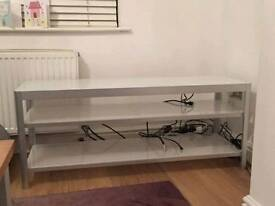 Ikea brushed chrome and glass tv unit